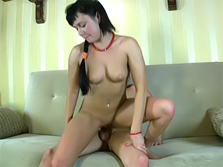 This nasty babe lets his huge wand to her little pussy